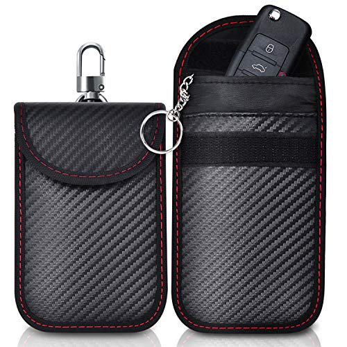RFID Key Pouch Faraday Pouch for Car Keys Keyless Car Key Signal Blocker Pouch PU Leather Material Protection Against Identity Theft and Credit Card Hacking Large Faraday Bag